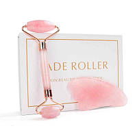 """Роллер и скребок гуаша """"Jade Roller"""" из натурального розового кварца (комплект)"""