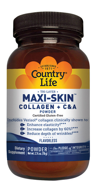 Maxi-Skin, Country Life, Коллаген + витамины C & A в виде порошка, без запаха