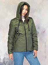 Демисезонная женская куртка размер плюс Лира хаки (42-56)