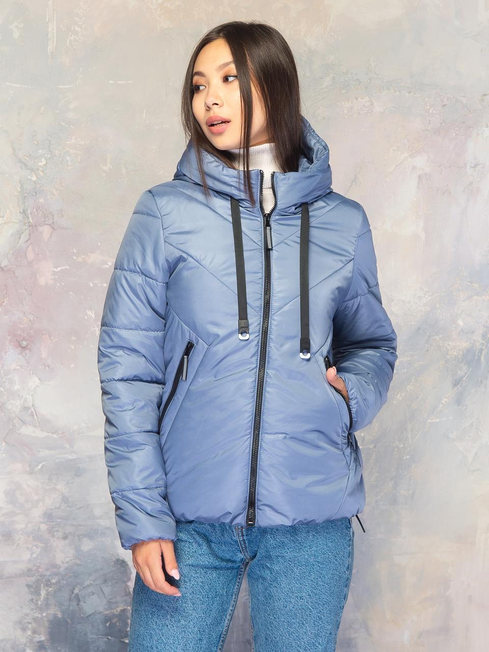 Демисезонная женская куртка размер плюс Лира серая (42-56)