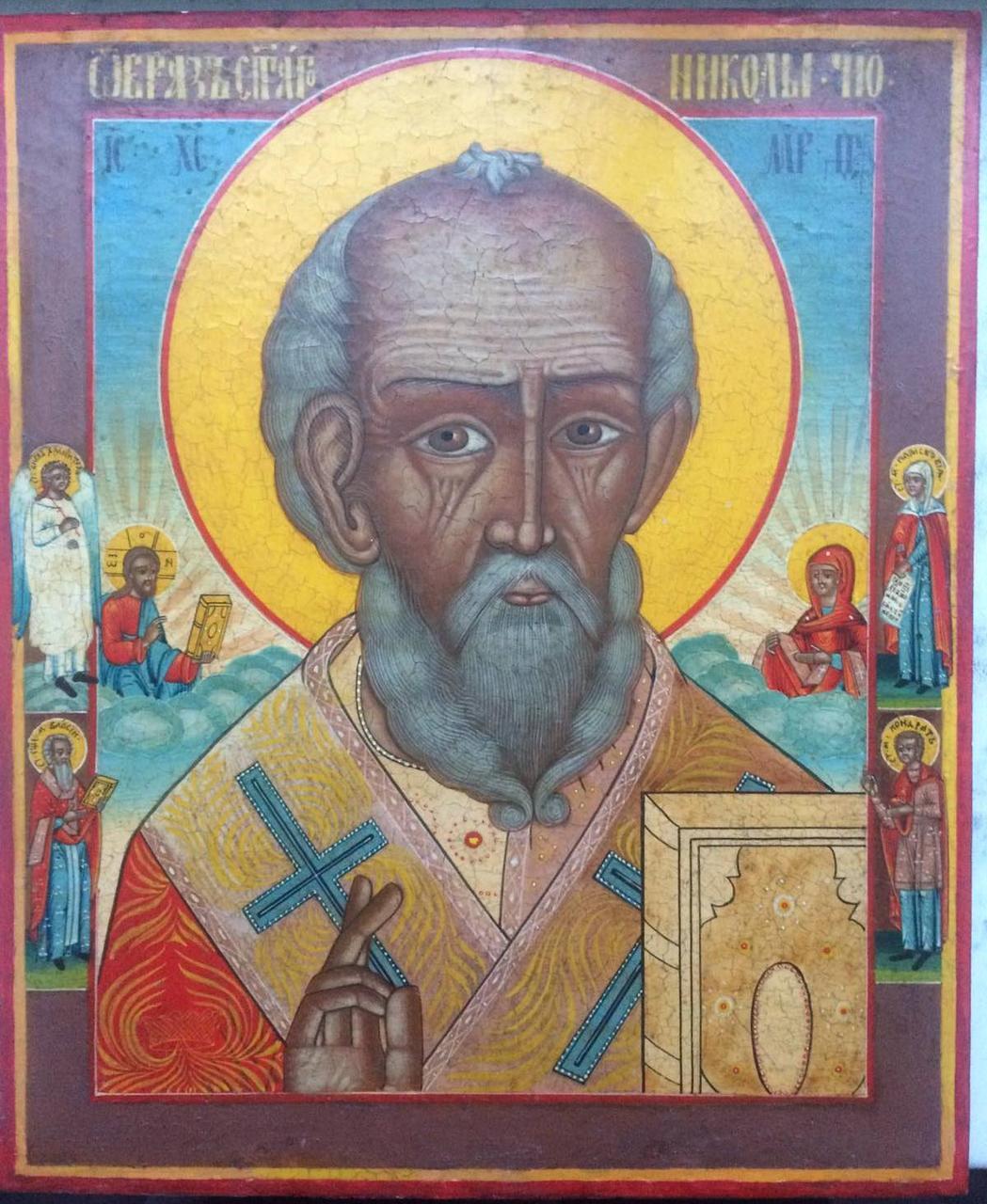 Старообрядческая икона Никола Отвратный 19 век