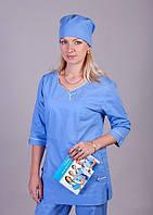 "Медицинский костюм женский ""Health Life"" х/б голубой 2227"