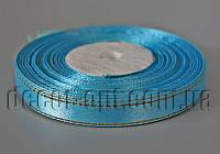 Лента атласная с зол.люрексом голубая 1,0 см 36ярд 62