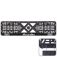 Рамка номера пластик SR с хром. рельефной надписью AUDI (UKR-00)