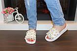 Шлепанцы женские белые с цветами Б524, фото 3