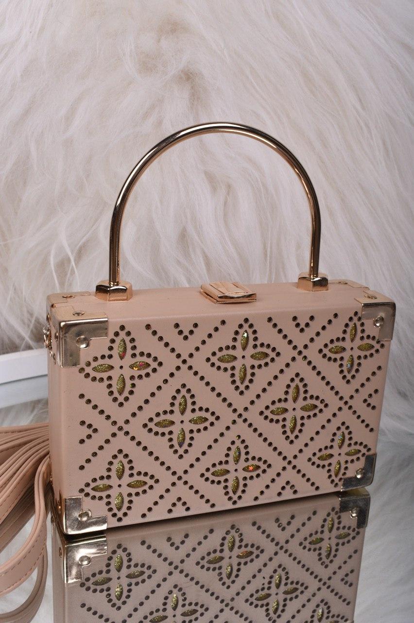 Невелика жіноча бежева сумка клатч код 7-2014