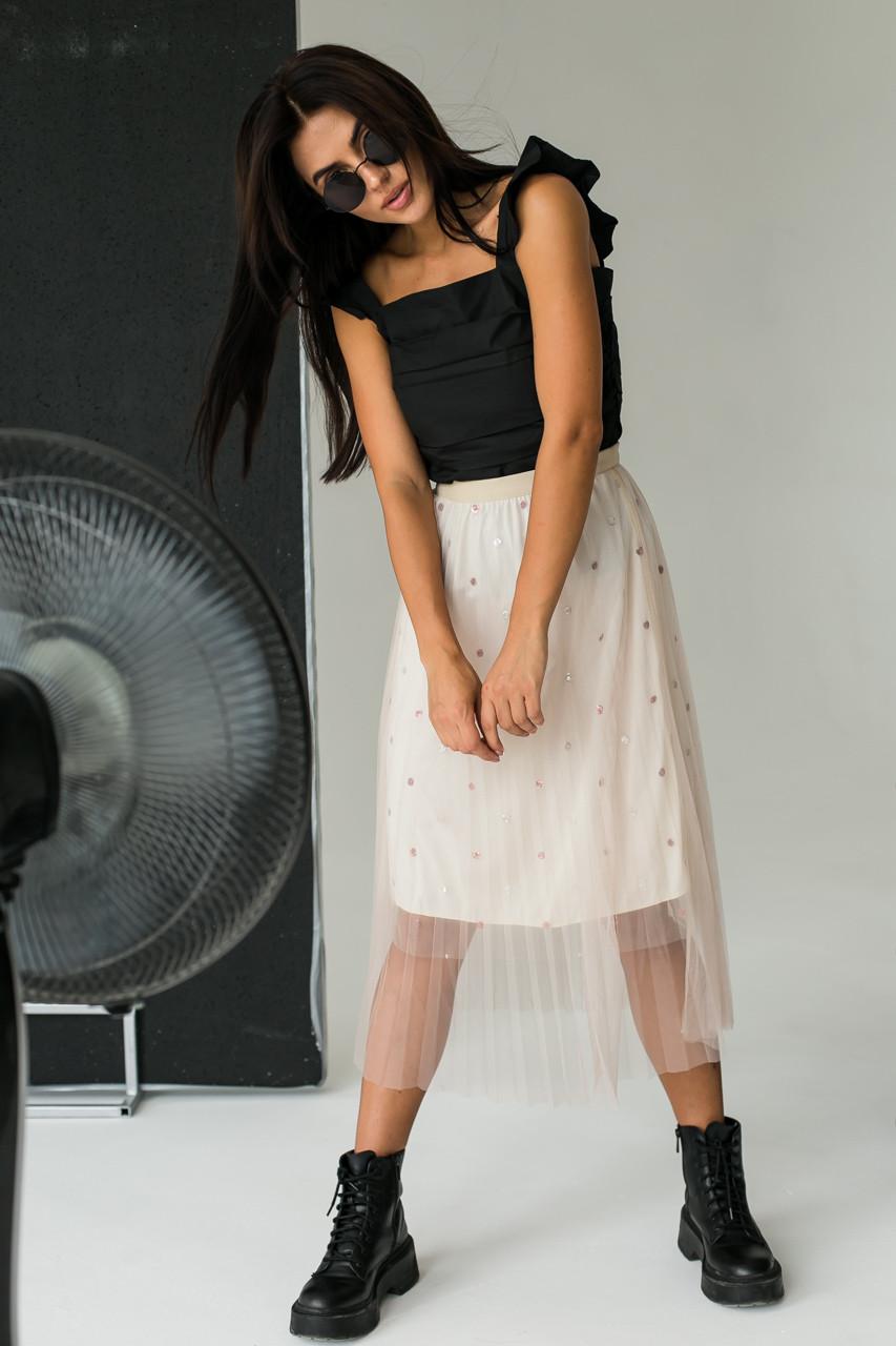 Фатиновая юбка с блестками LUREX - кофейный цвет, L (есть размеры)