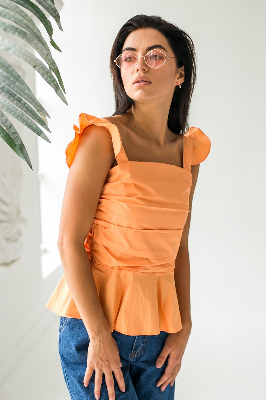 Элегантная летняя блузка QJBM - оранжевый цвет, L (есть размеры)