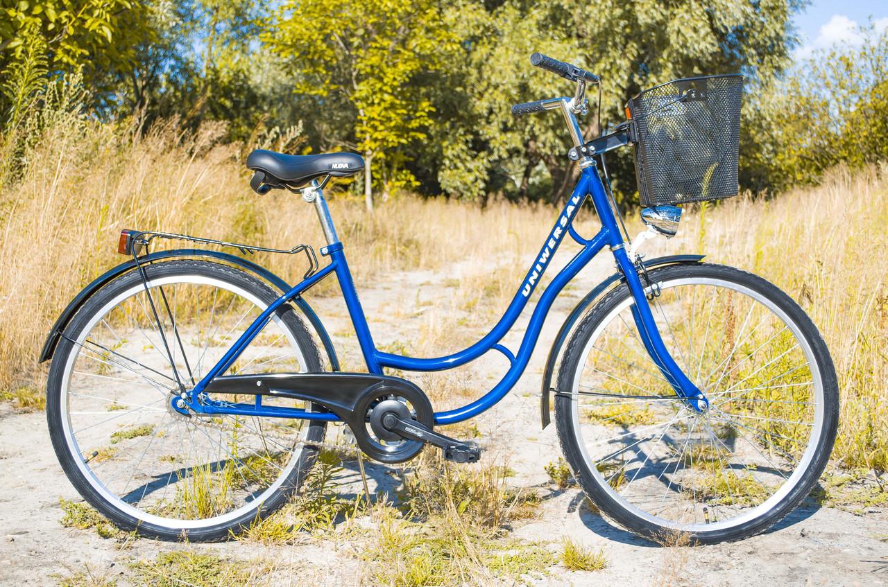 Велосипед жіночий міський Uniwersal 26 Blue з кошиком Польща