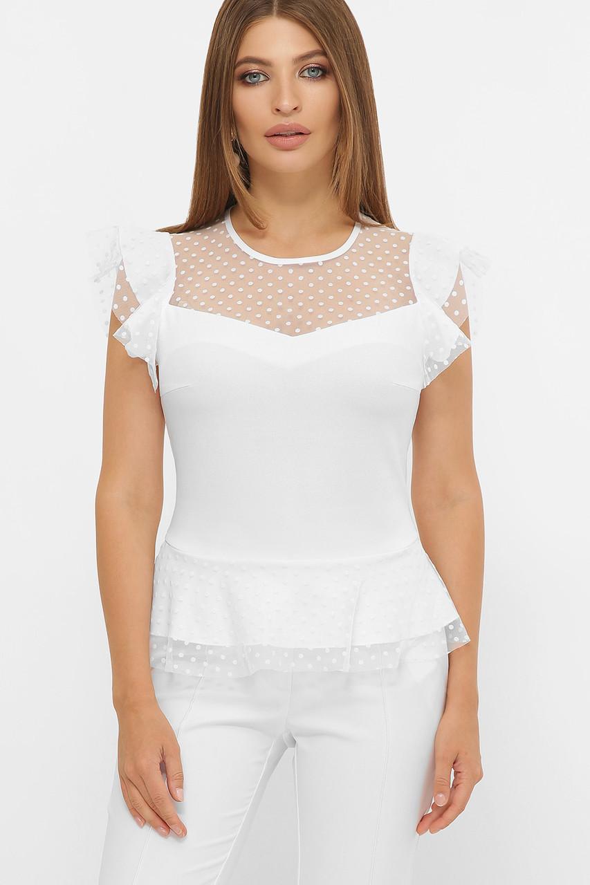Красивая белая блуза с баской Лайза