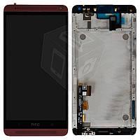 Дисплейный модуль (дисплей + сенсор) для HTC One Max 803n, с передней панелью, красный, оригинал