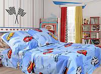 Детское постельное белье полуторное/Комплект постельного белья для мальчика/Постельное белье с машинками