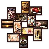 Фоторамка из дерева на 12 фотографий, коричневая (шоколад)., фото 1