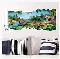 Виниловая наклейка для декора стены Динозавры 3D