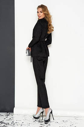 Женский деловой брючный костюм замшевый черный, 54, фото 2