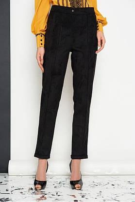 Женский деловой брючный костюм замшевый черный, 54, фото 3
