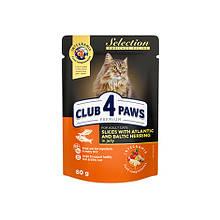 Клуб 4 Лапи Selection 80 г для дорослих кішок з оселедцем та салакою в желе вологий корм