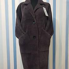 Пальто с рукавом 7/8 из шерсти альпака цвет темный баклажан