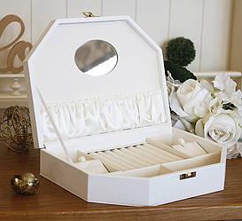 Шкатулка для ювелирных украшений Трапеция белая