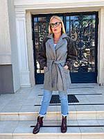 Пальто жіноче демісезонне сіре, фото 1