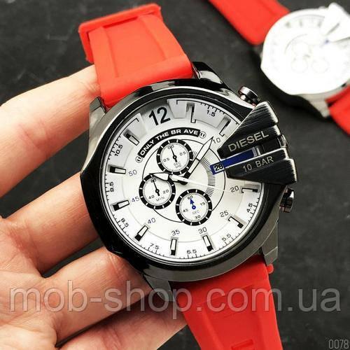 Мужские наручные часы Diesel 10 Bar Black-White Red Wristband Silicone
