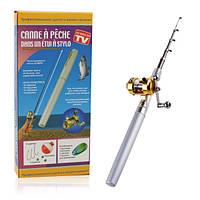 Мини удочка ручка fishPen телескопическая карманная с катушкой Складная походная маленькая карманный Спиннинг