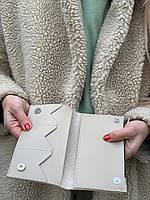 Кошелек женский  модный  из экокожи средний брендовый  без логотипа бежевый, фото 1