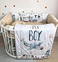 "Бортики в кроватку, бортики в ліжечко, захист в дитяче ліжечко ""Boy"""
