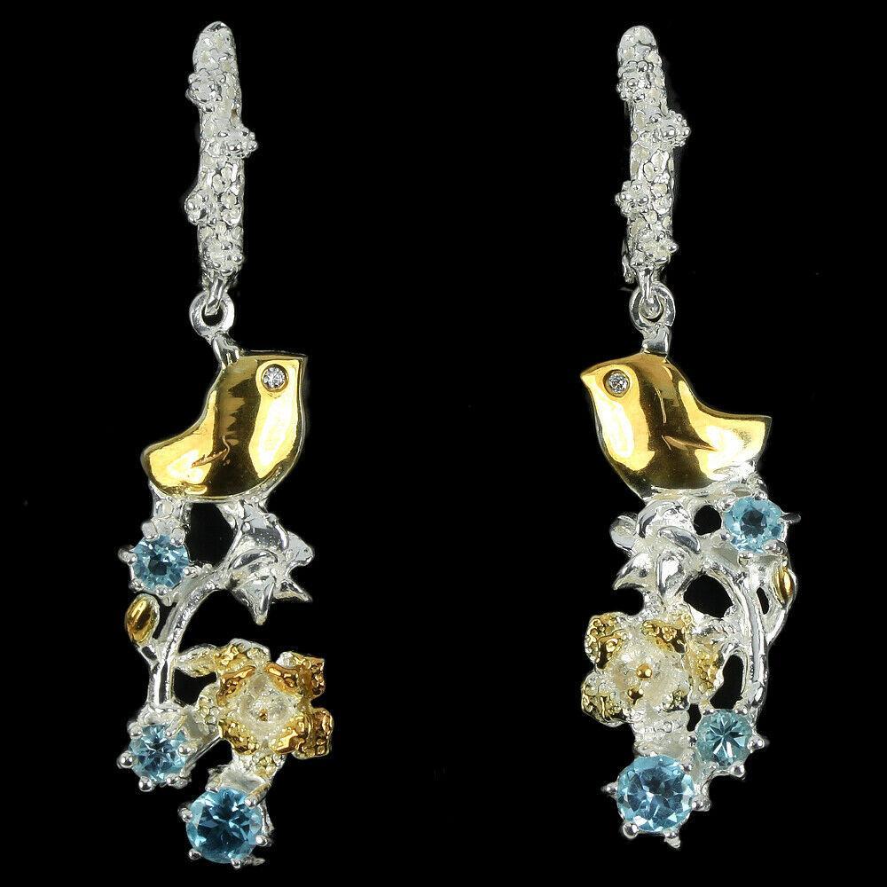 Срібні сережки з топазом блакитним, 1432СТ