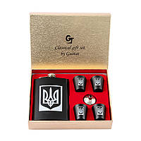 Подарочный набор Moongrass с символикой Украины для мужчины фляга 265 мл и четыре рюмки (LX 413)