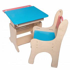 Детская парта-мольберт с пеналом+растущий стульчик (цвет)