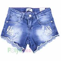Шорты джинсовые для девочки синие с вышивкой Wanex 122 см., 7 лет
