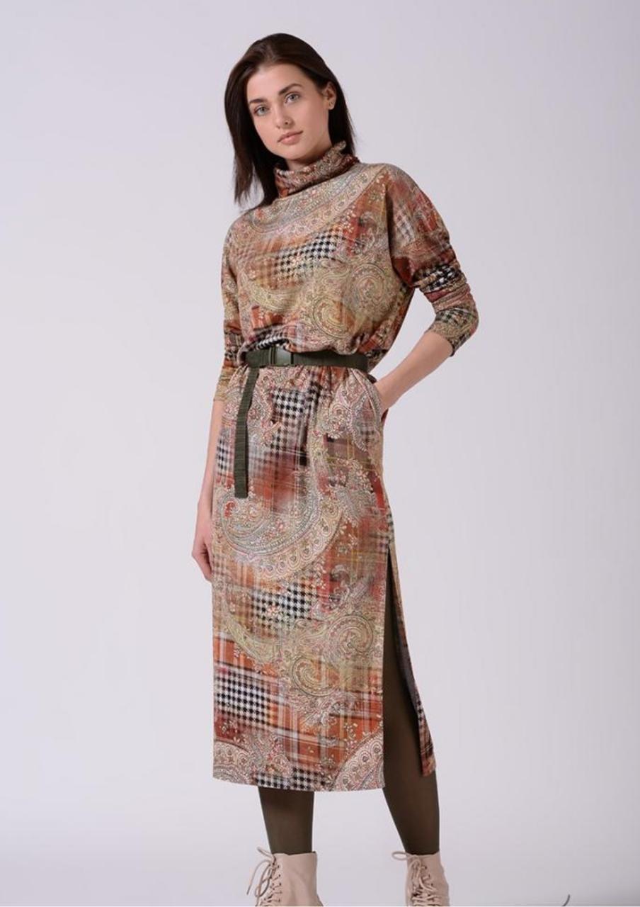 Трикотажне плаття довге з розрізами в абстрактний принт Lesya Стеми 8