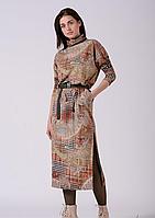Трикотажное платье длинное с разрезами в абстрактный принт Lesya Стеми 8