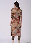 Трикотажное платье длинное с разрезами в абстрактный принт Lesya Стеми 8, фото 3
