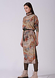 Трикотажное платье длинное с разрезами в абстрактный принт Lesya Стеми 8, фото 2