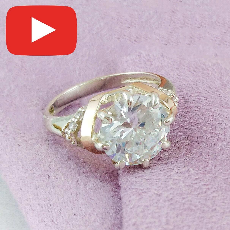 Серебряное кольцо с золотыми вставками размер 17,5  582 к