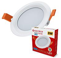 Світлодіодний вбудований світильник круглий (даунлайт) ELECTRUM LEO-M6, 6W 4000K, фото 1