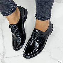 Жіночі чорні туфлі на шнурівці еко лак