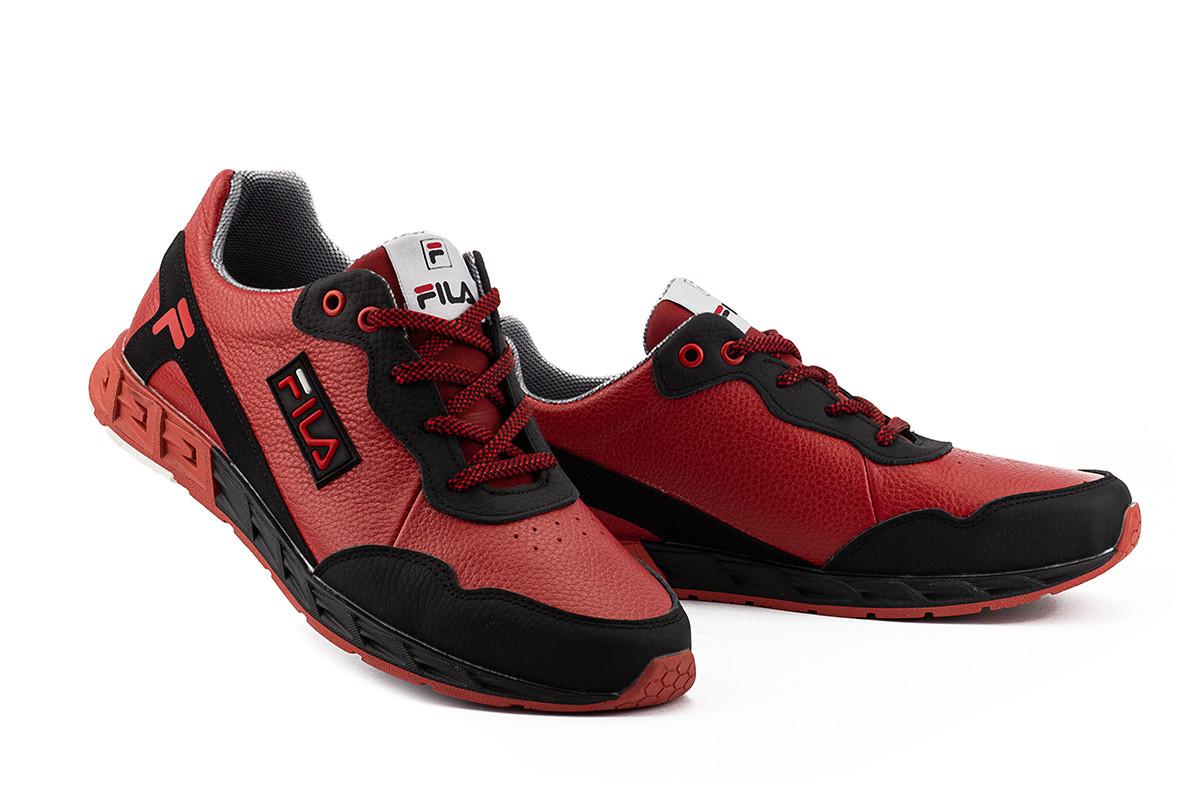 Мужские кроссовки кожаные весна/осень красные-черные CrosSAV 05 Light Flight
