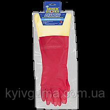 Рукавиці побутові з подовженою ПВХ-манжетою (Перчатки бытовые с удлиненной ПВХ-манжетой) M