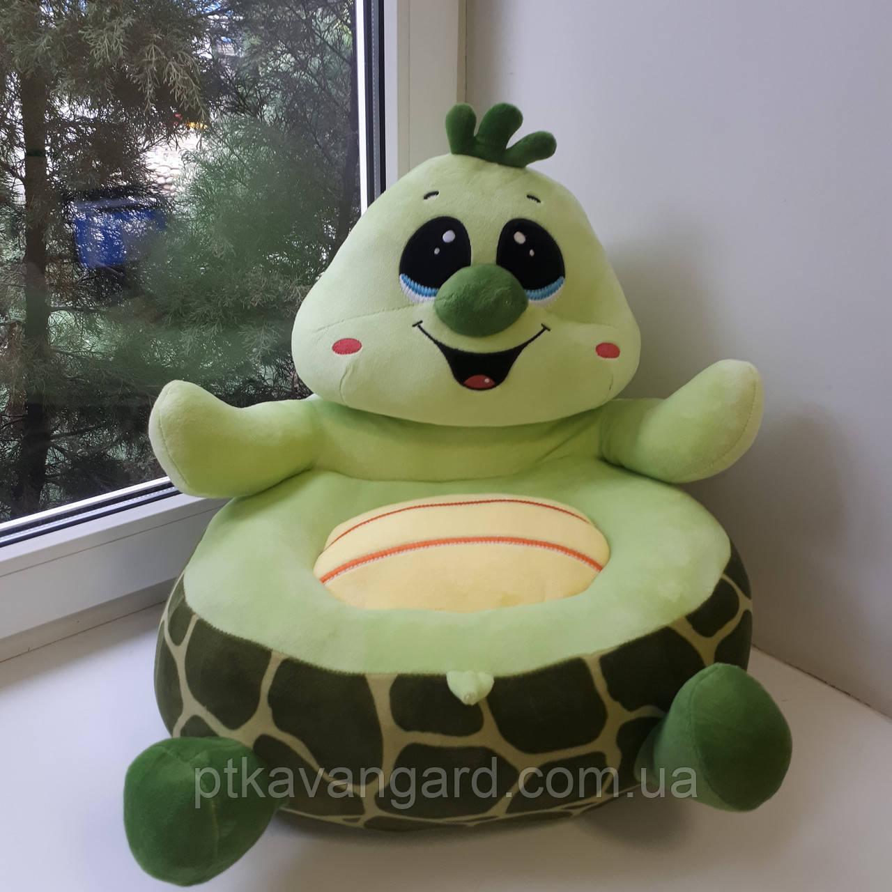 Детское мягкое кресло игрушка зеленая Черепаха 40х40х40 см С 31195