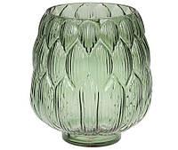 Ваза стеклянная зеленая Артишок 20 см