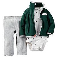 Теплый детский комплект 3в1(флисовые штанишки+боди футболка+теплая флисовая кофточка)для мальчика