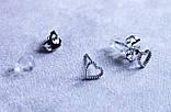 Милі сережки - сердечка фірми Xuping (Rhodium color 11), фото 2