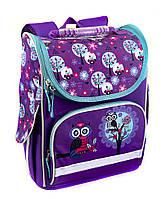 Школьный рюкзак короб для девочек Совы, фиолетовый, ортопедическая спинка 35*25см