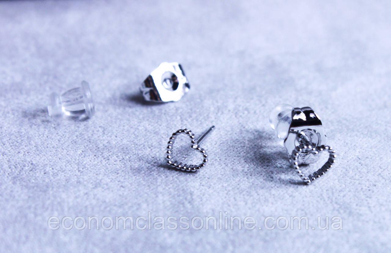 Милі сережки - сердечка фірми Xuping (Rhodium color 11)