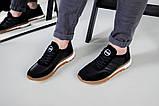 Кроссовки мужские кожаные черные с вставками замши, фото 7