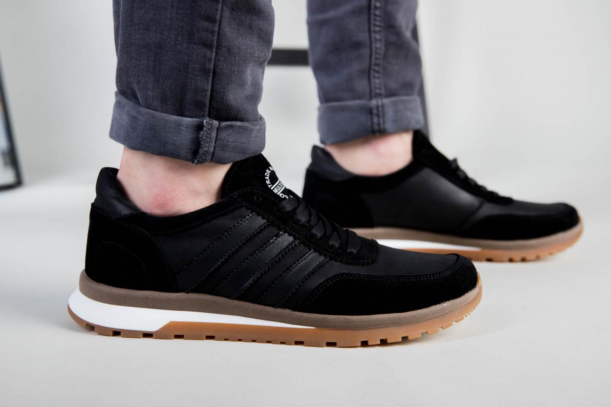 Кроссовки мужские кожаные черные с вставками замши