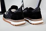 Кроссовки мужские кожаные черные с вставками замши, фото 2